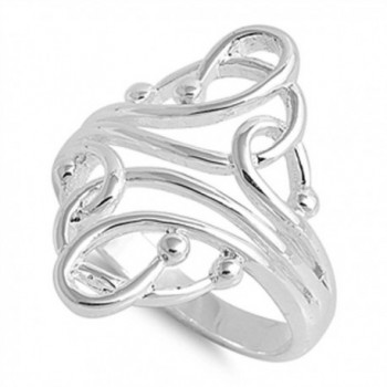 Women's Curved Ball Fashion Abstract Ring .925 Sterling Silver Band Size 11 (RNG14974-11) - C311Y23WJ7P