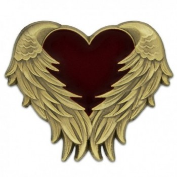 PinMart's Antique Gold Heart with Angel Wings Enamel lapel Pin - CT11PACZOPZ