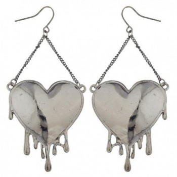 Lux Accessories Edgy Hematite Bleeding Hearts Dripping Heart Dangle Earrings - CI17YQTGT2H