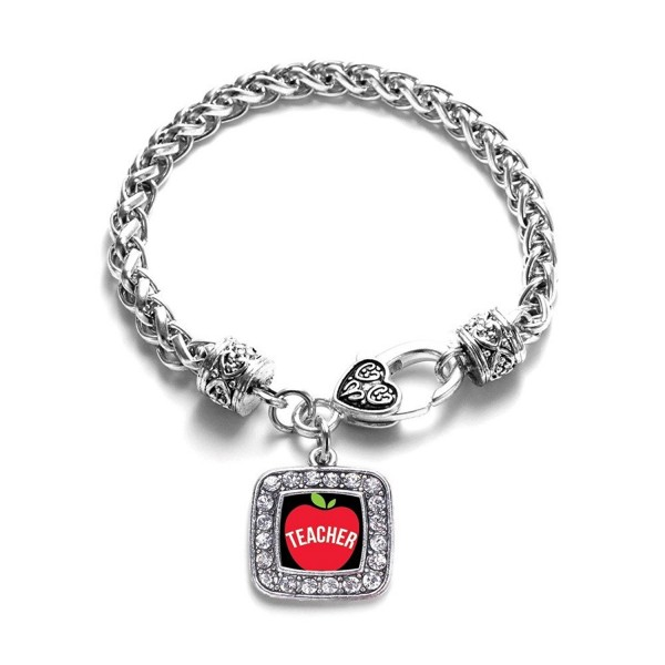 Apples for Teacher Classic Silver Plated Square Crystal Charm Bracelet. - CA11KY4U7G1