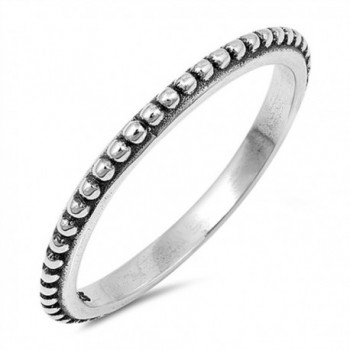 Thin Beaded Bali Stackable Ring New .925 Sterling Silver Vintage Band Sizes 3-10 - CO17AYZ50C6