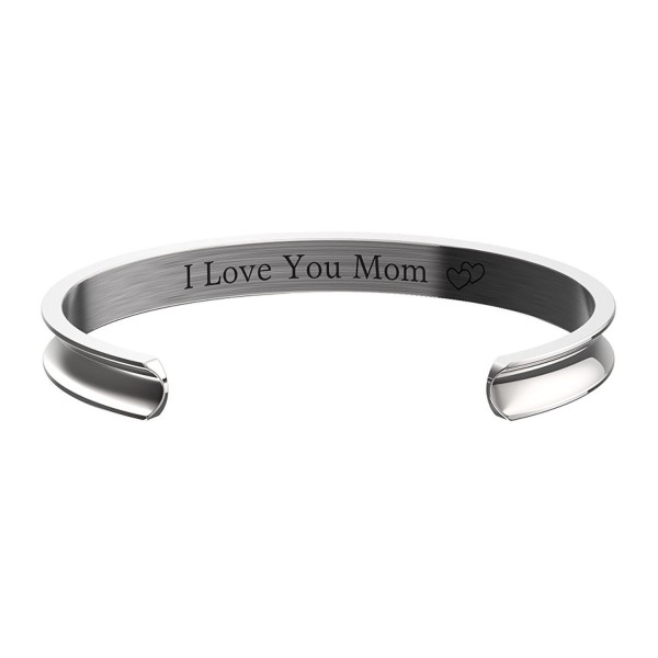 Mother's Day Gift - I Love You Mom Grooved Cuff Bangle Hidden Message Bracelet - C417YCKDHHT