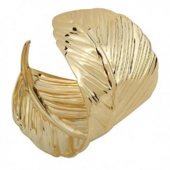 YAZILIND Alloy Leaves Shape Design Wide Cuff Bracelet for Women - CT12O65563X