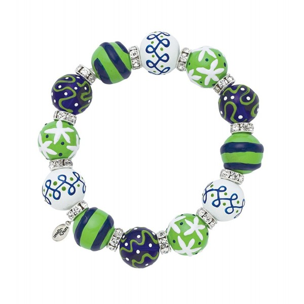 Clementine Design Kate & Macy Blue & Green Dream Bracelet Painted Glass Beads Rhinestones - C212EXJEE07