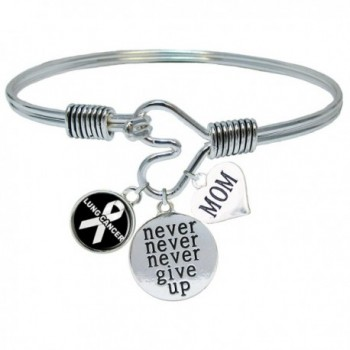 Custom Lung Cancer Awareness Never Give Up CHOOSE MOM OR DAD CHARM ONLY Bracelet Jewelry - CH1864LIMAU