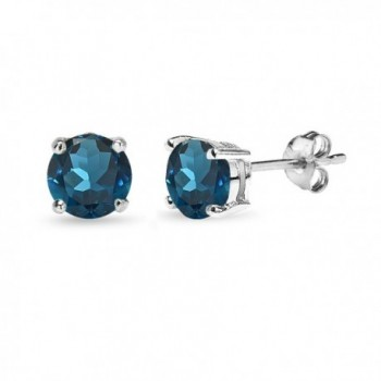 Sterling Silver London Blue Topaz 6mm Round Prong-set Stud Earrings - CV12G0EGX75