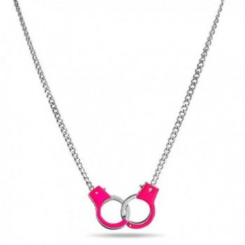 Bling Jewelry Secret Shades Pink Enamel Handcuff Pendant Stainless Steel Necklace 18 Inches - CR11IVDY3SF