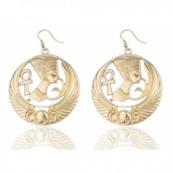 Goldtone Embedded Nefertiti- Ankh Cross and Wings Design Dangle Earrings (R-3663) - CW11GB48OIV