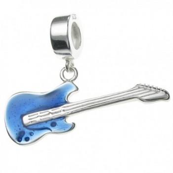 925 Sterling Silver Electric Bass Guitar Enamel Dangle Bead For European Charm Bracelets - CB124RX23ST