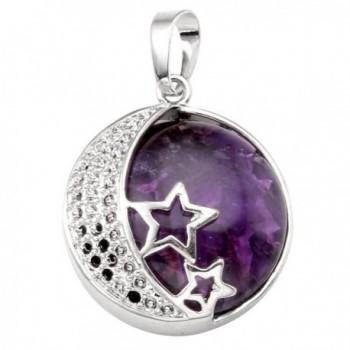 Natural Gemstones Healing Necklace Stainless - Natural Amethyst - C512G5APA7B