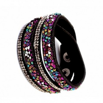 Leather Band Bracelet Adorned with Magnificent Colored Opulent Bead Seeds - CZ12NRDEXSM