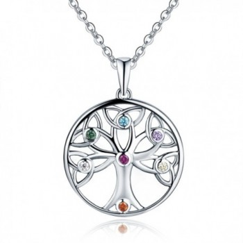 925 Sterling Silver Celtic Knot Trinty Tree of Life Seven (7) Chakras Pendant Necklace (45-50cm) 18-20 Inches - CX1822GXYRQ