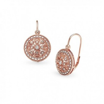 Sterling Silver Round Filigree Medallion Diamond Accent Leverback Drop Earrings- IJ-I3 - CP17Z4O3YYU