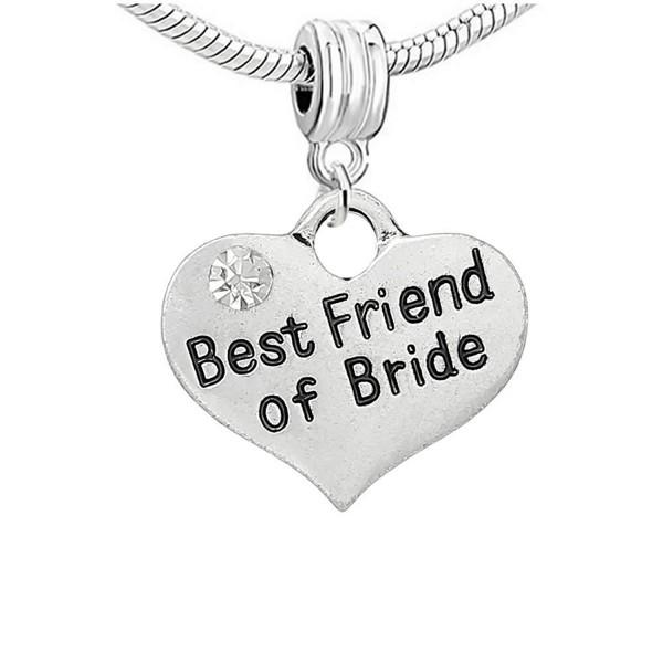 "Two Sided "" Wedding Charm"" Bead With Clear Rhinestones For Snake Chain Bracelet - CN11U7XAVVT"