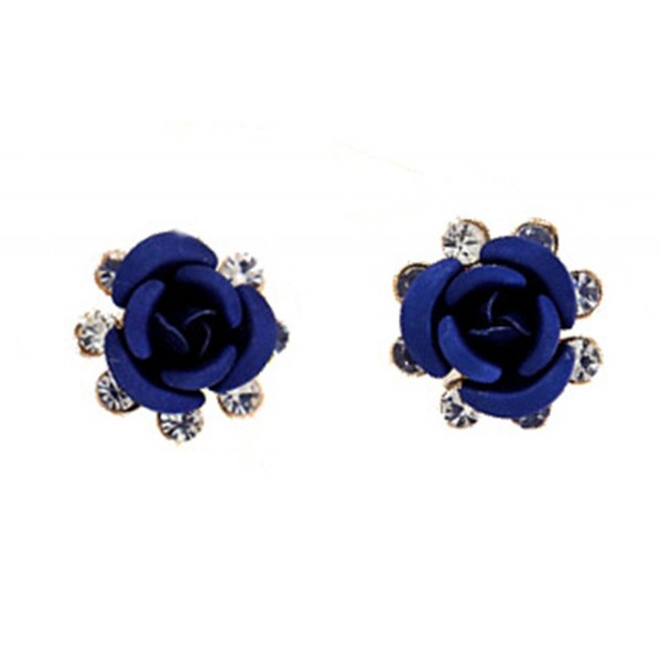 Fashion Earrings Rose Flower Earrings With Diamond Ear Studs Earrings - Blue - CA11XLCW6V7