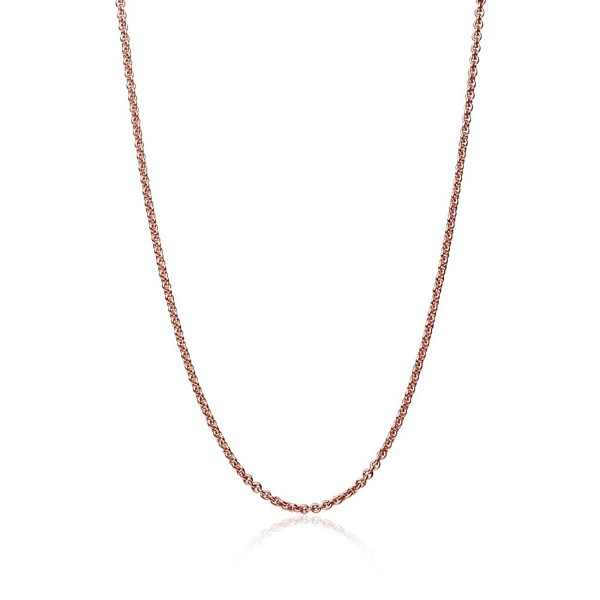 Rose Gold Flashed Sterling Silver 1mm Thin Cable Rolo Chain Necklace- 14-36 Inches - CZ186MOA06G