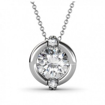 "Jolie ""Forever Love"" Swarovski Crystal Round Cut Pendant Necklace Jewelry for Women 18"" - Silver - CD1858OYQZL"