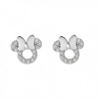 Disney Minnie Mouse Sterling Silver Cubic Zirconia Stud Earrings - C0186XYAMNZ