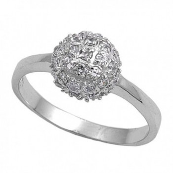 White CZ Ball Cluster Fashion Chic Ring New .925 Sterling Silver Band Sizes 5-9 - CN187Z99ZX0