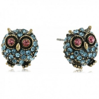 "Betsey Johnson ""Betsey's Delicates"" Pave Owl Stud Earrings - C5120G9WUZT"