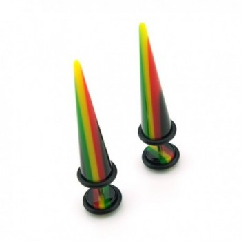 Rasta Design - Acrylic Fake Tapers - Cheaters - 0G Gauge - 8mm - CT11FB29TR9