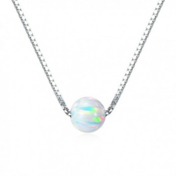 "Sterling Silver 6mm Created Opal Choker Necklace 14"" + 1"" Extension - ""Silver 14"""" / White Opal"" - CN12O694PR9"