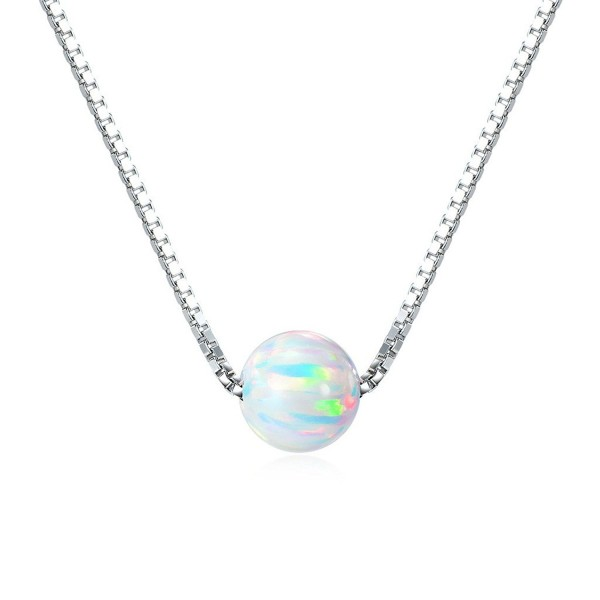 """Sterling Silver 6mm Created Opal Choker Necklace 14"""" + 1"""" Extension - """"Silver 14"""""""" / White Opal"""" - CN12O694PR9"""