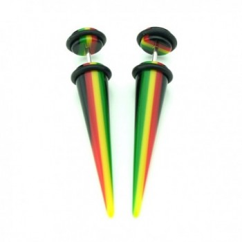 Rasta Design Acrylic Tapers Cheaters in Women's Stud Earrings
