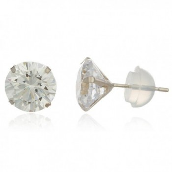 14k White Gold with Clear 7mm Cubic Zirconia Silicone Back Stud Earrings (GO-346) - C311O693PHX