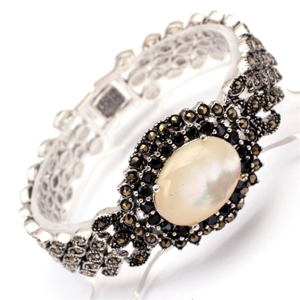 GEM-inside Fashion Jewelry Link Bracelet Oval Stone Beads Tibetan Silver Marcasite 7 Inches - White Shell - C911ZXML187