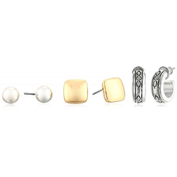 "Napier ""Pattern Balance"" Two-Tone Trio Earrings Jewelry Set - CD11L3RT9HL"