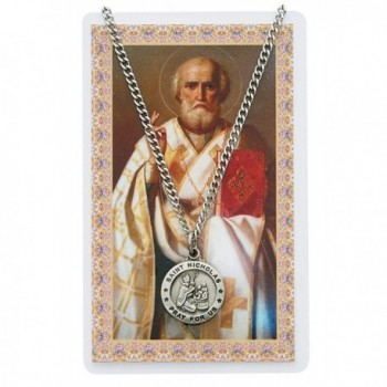 Saint Nicholas 3/4-inch Pewter Medal Pendant Necklace with Holy Prayer Card - CL117J9IN79