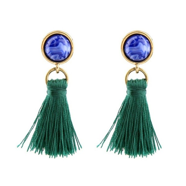Peony.T Women's Vintage Gemstone Stud Small Tassel Dangle Earrings Thread Drop Earrings - Blue - CG186XRMC92