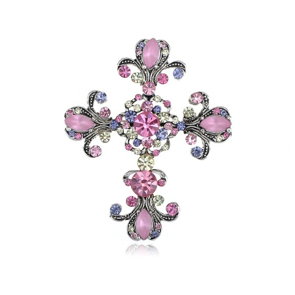 Alilang Antique Silvery Tone Pink Purple Rhinestones Pastel Holy Cross Brooch Pin - CZ116E0Y1QL