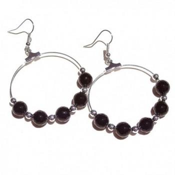 Faceted Black Onyx Gemstone Hoop Earrings - C81199EKKEV