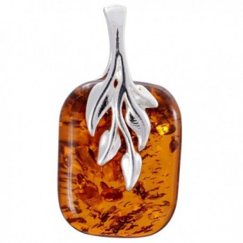 """Sterling Silver and Baltic Honey Amber Pendant """"Fern"""" - CB184KT4TAA"""