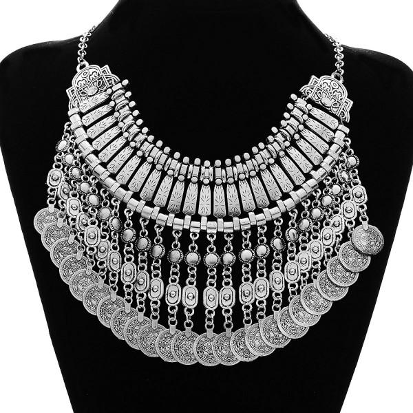MJARTORIA Vintage Bohemian Ethnic Gypsy Rhinestone Bib Chunky Tassel Collar Festival Statement Necklace - C212C854K75