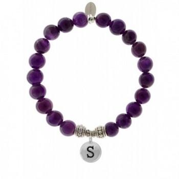 EvaDane Natural Amethyst Gemstone Rope Bead Alphabet Letter S Charm Stretch Bracelet - CW12O8PXI9J