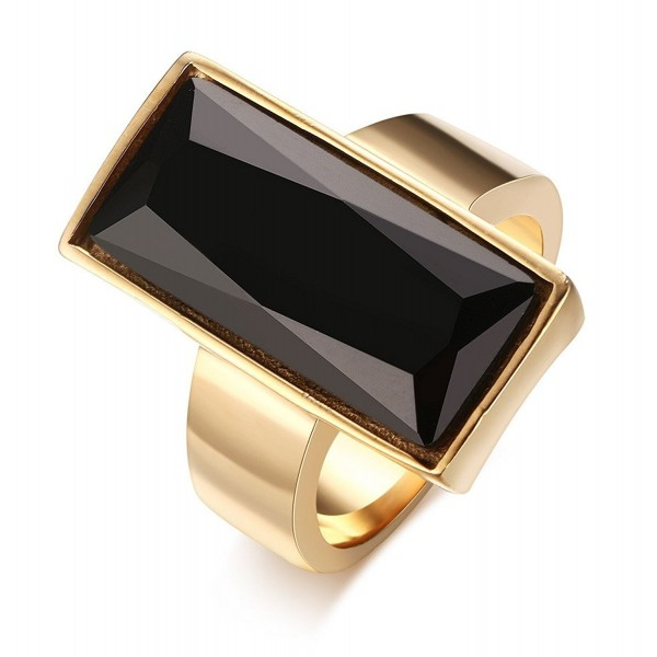 Stainless Steel Gold Plated Rectangle Glass Women's Fashion Ring- Black/Green/white/Blue - CI12C6XJDUD