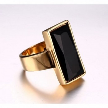 Stainless Plated Rectangle Fashion Cocktail in Women's Statement Rings
