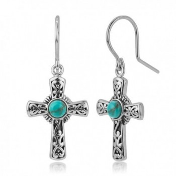 """925 Oxidized Sterling Silver Filigree Cross Simulated Turquoise Stone Dangle Hook Earrings 1.3"""" - C012I6MS3EF"""