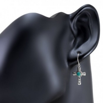Oxidized Sterling Filigree Simulated Turquoise in Women's Drop & Dangle Earrings