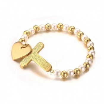 Vnox Womens Two Tone Stainless Steel Bead Heart and Cross Bracelet- Gold Plated-6mm Width - CT12H7ONJ3X
