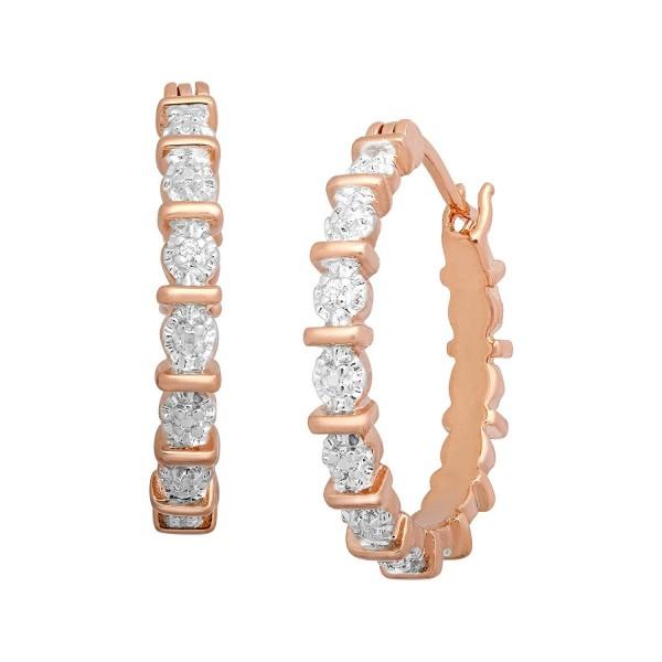 Hoop Earrings with Diamonds in 18K Rose Gold-Plated Brass - C712CJTXKDZ