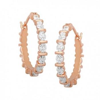 Hoop Earrings Diamonds Gold Plated Brass