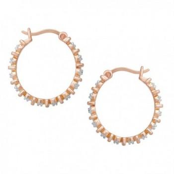 Hoop Earrings Diamonds Gold Plated Brass in Women's Hoop Earrings