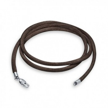 Bling Jewelry Brown Silk Cord Silver Plated Lobster Claw Clasp Necklace 18 Inches - CP12EMB2HWX