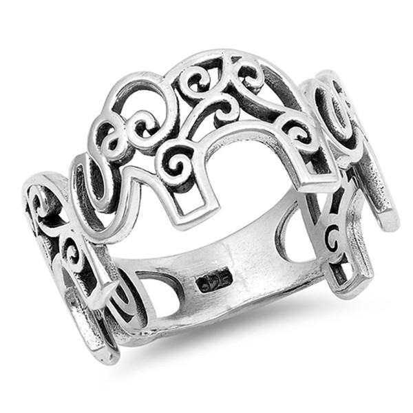 Filigree Oxidized Elephant Swirl Ring New .925 Sterling Silver Band Sizes 5-12 - CN184Y7SX77