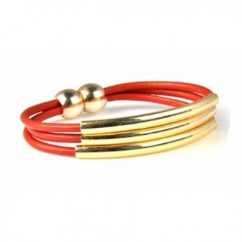 Huan Xun Women's Three Rows Golden Alloy Magnet Closure Real Leather Bracelet - CV11BBWQ9JT