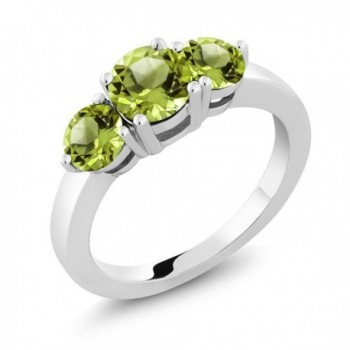 2.10 Ct 3-Stone Round Green Peridot 925 Sterling Silver Ring 1X6MM and 2X5MM - CJ115V6FI4D